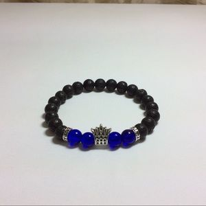 Black Lava Oil Beads with Silver Crown & Blue